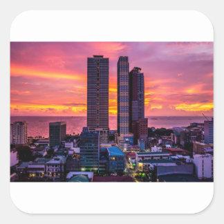 Manila Philippines Skyline Square Sticker