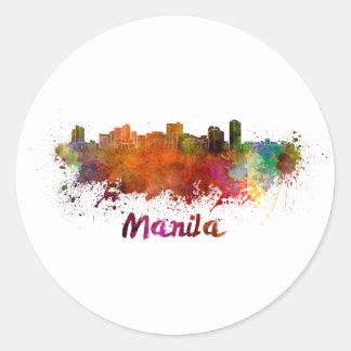 Manila skyline in watercolor classic round sticker