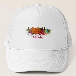 Manila skyline in watercolor trucker hat