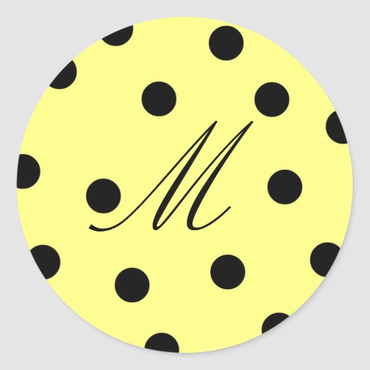 Manilla Black Polk Dot Letter M Classic Round Sticker