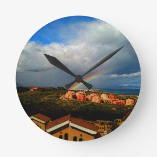 Manilva-Spain landscape rainbow and ocean view. Wall Clock