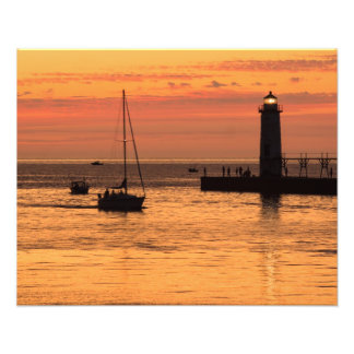 Manistee Lighthouse Sunset Sailboat Photo Print