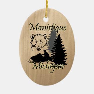 Manistique Michigan Snowmobile Bear Ceramic Ceramic Ornament