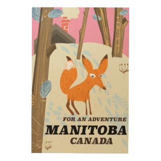 Manitoba Canada vintage style travel poster Wood Print