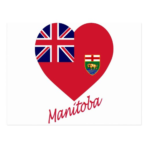 Manitoba Flag Heart with Name Postcard