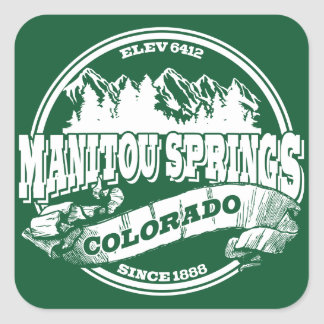 Manitou Springs Old Circle Green Square Sticker