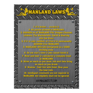 MANLAND LAWS Poster!! Poster