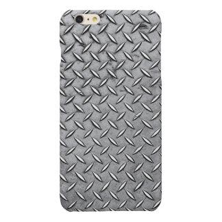 Manly Diamond Cut Metal - Cool Metallic Plate Look Glossy iPhone 6 Plus Case