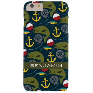 Manly Fisherman Pattern with Custom Name Barely There iPhone 6 Plus Case