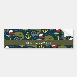 Manly Fisherman Pattern with Custom Name Bumper Stickers