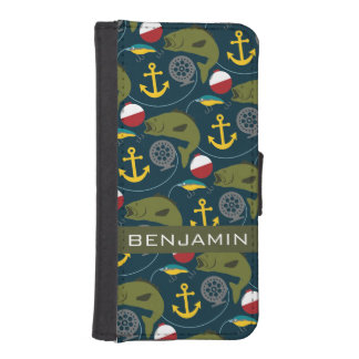 Manly Fisherman Pattern with Custom Name iPhone 5 Wallets