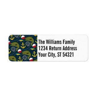 Manly Fisherman Pattern with Custom Name Return Address Label