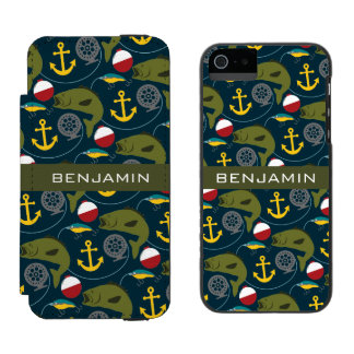 Manly Fisherman Pattern with Custom Name Incipio Watson™ iPhone 5 Wallet Case