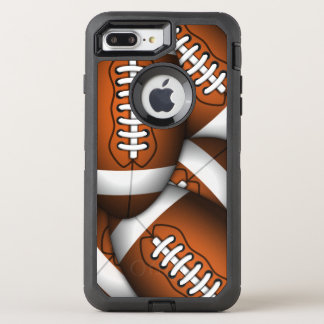 Manly Footballs Pattern American Football Rugged OtterBox Defender iPhone 8 Plus/7 Plus Case