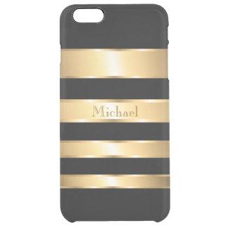 Manly Gold Black Stripes Monogram Clear iPhone 6 Plus Case