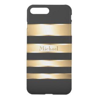 Manly Gold Black Stripes Monogram iPhone 7 Plus Case