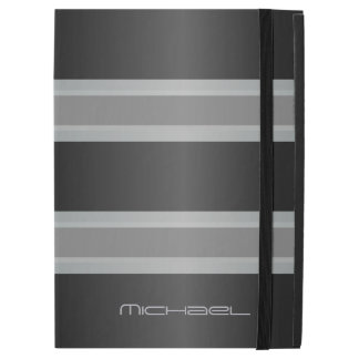 "Manly Gray Black Stripes Monogram iPad Pro 12.9"" Case"
