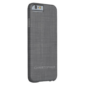 Manly Linen Look with Gray Name Barely There iPhone 6 Case