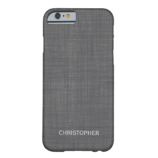 Manly Linen Look with Gray Personalized Name Barely There iPhone 6 Case