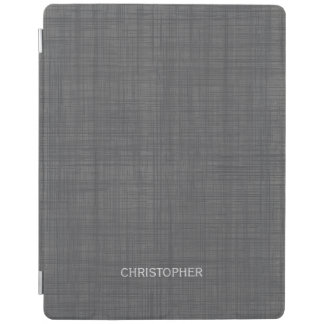 Manly Linen Look with Gray Personalized Name iPad Cover
