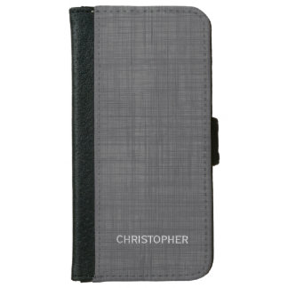 Manly Linen Look with Gray Personalized Name iPhone 6 Wallet Case
