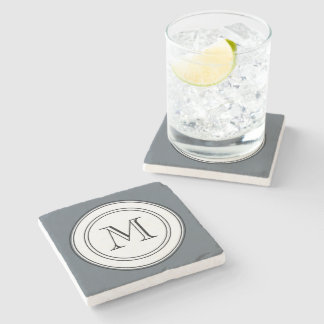 Manly Monogram Marble Coasters