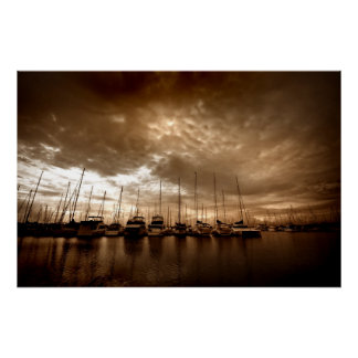Manly Yacht Club in Dramatic Sepia Tones Poster