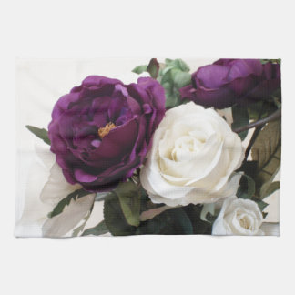 Manmade Purple And White Roses Kitchen Towel