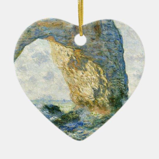 Manneporte, Rock Arch - Étretat (Normandy) - Monet Ceramic Heart Ornament