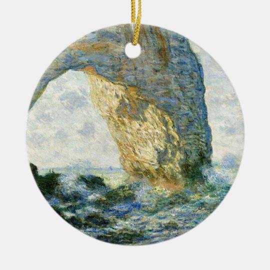 Manneporte, Rock Arch - Étretat (Normandy) - Monet Round Ceramic Ornament