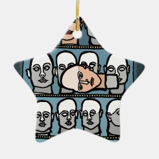Mannequin Heads Ceramic Ornament