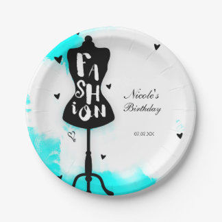 Mannequin Stand FASHION Aqua & White with Hearts 7 Inch Paper Plate