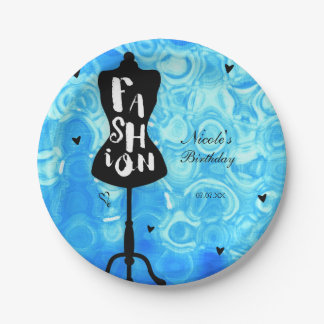 Mannequin Stand Vintage Retro Blue FASHION Party 7 Inch Paper Plate