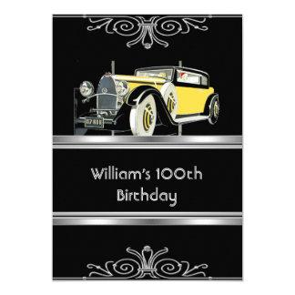 "Mans 100th Birthday Party Black Vintage Car 5"" X 7"" Invitation Card"