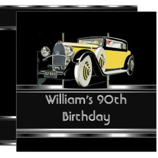 Mans 90th Birthday Party Black Vintage Car Card