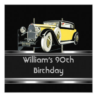Mans 90th Birthday Party Black Vintage Car Custom Announcement