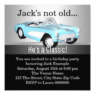 "Mans Antique Car Birthday Party 5.25"" Square Invitation Card"