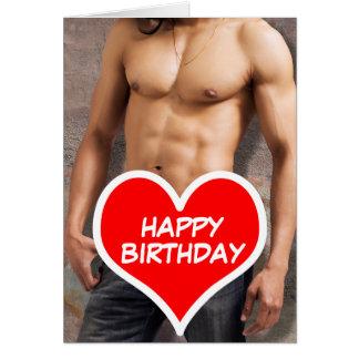 Man's Bare Chest Happy Birthday Card