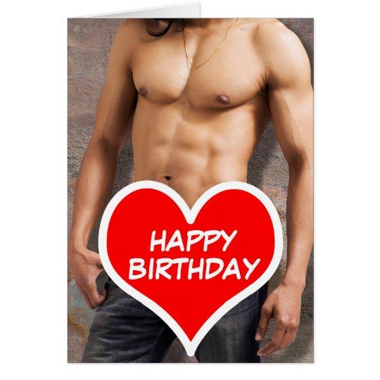 Man's Bare Chest Happy Birthday Card   Zazzle.ca