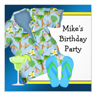 Mans BBQ Margarita Beach Birthday Party Card