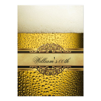 Mans Beer Black Gold Birthday Party All Ages Invites
