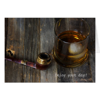 man's Birthday-whiskey and pipe Card