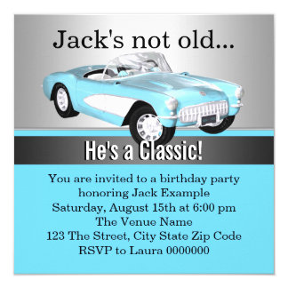 "Mans Blue Antique Car Birthday Party 5.25"" Square Invitation Card"