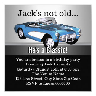 Mans Blue Antique Car Birthday Party Card