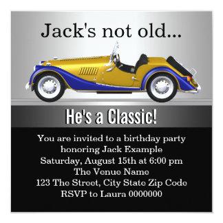 "Mans Classic Car Birthday Party 5.25"" Square Invitation Card"