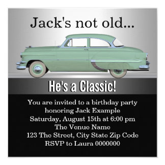"Mans Classic Car Birthday Party 5.25"" Square Invitation Card"