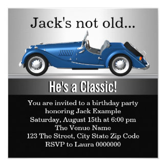 Mans Classic Car Birthday Party Personalized Announcement