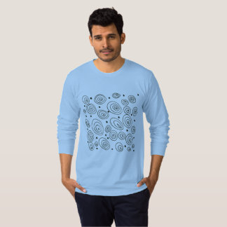 Mans designers t-shirt blue with Circles