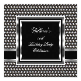 Mans Elegant Black Silver Birthday Party Mens 5.25x5.25 Square Paper Invitation Card