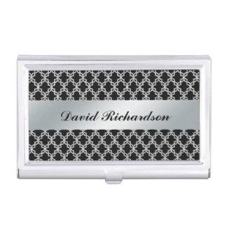 Man's Elegant Black Silver Business Card Holder